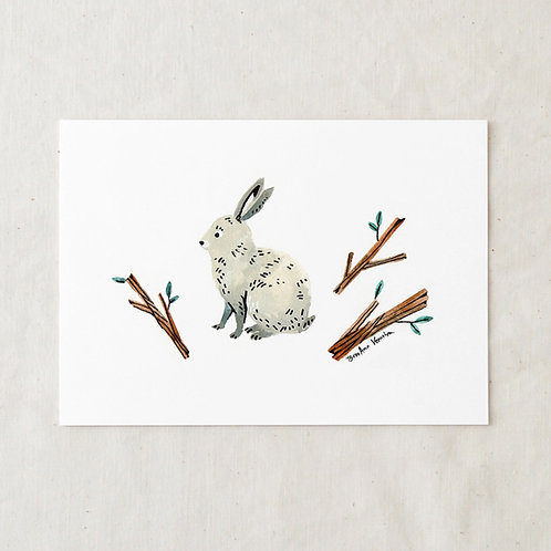 5 x 7 Rabbit and Twigs Art Print by Wildship Studio