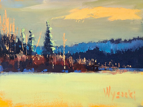 """'Last Light by the Outlet' Framed 9"""" x 12"""" Oil on Canvas by Stephen Wysocki"""