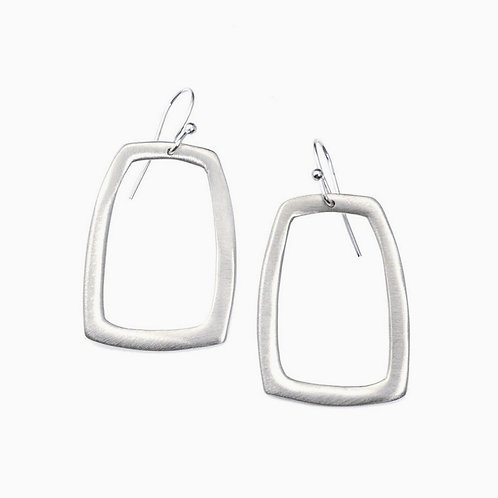 Stone Large Rectangle Silver Earrings by Philippa Roberts