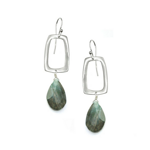 Stone Rectangle with Labradorite Earrings byPhilippa Roberts