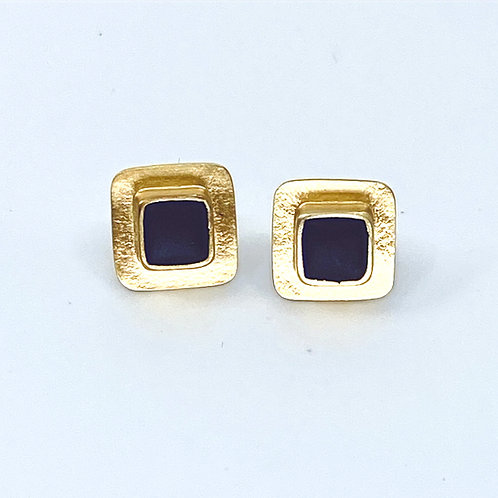 Black Glass Square Post Earrings by Amy Faust