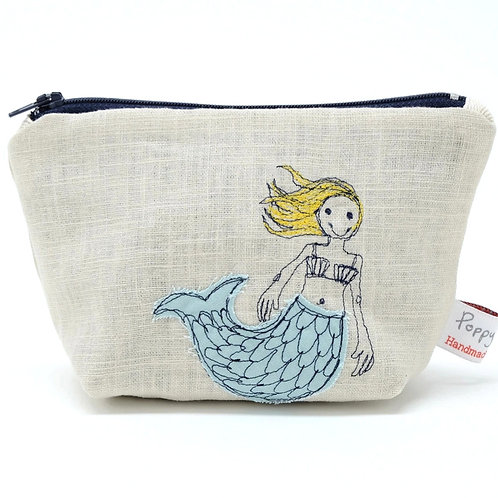 Little Embroidered Mermaid Makeup Bag by Poppy Treffrey