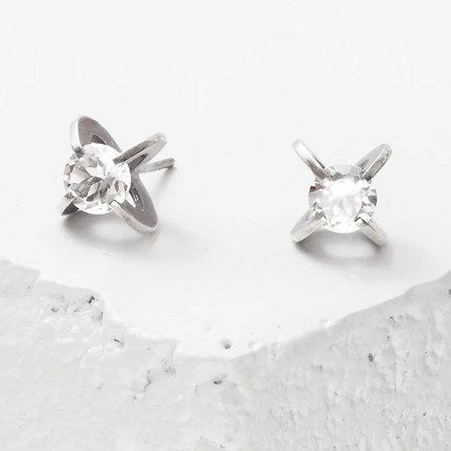 6mm Clutch White Topaz Earrings by Zuzko