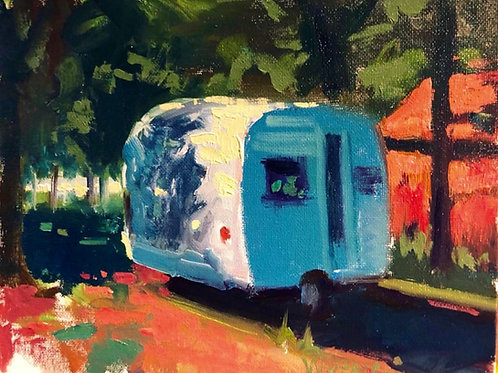 "'Lake View Camper' Framed 8"" x 10"" Oil on Canvas by Stephen Wysocki"