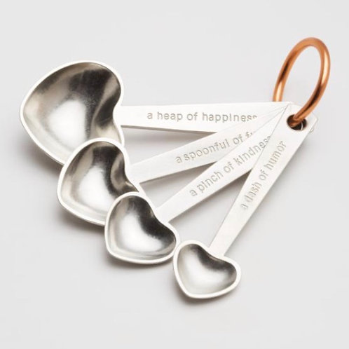 Quotes Heart Shaped Measuring Spoons by Beehive Handmade