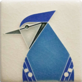 3x3 Blue Jay Tile by Charley Harper for Motawi Tilesworks