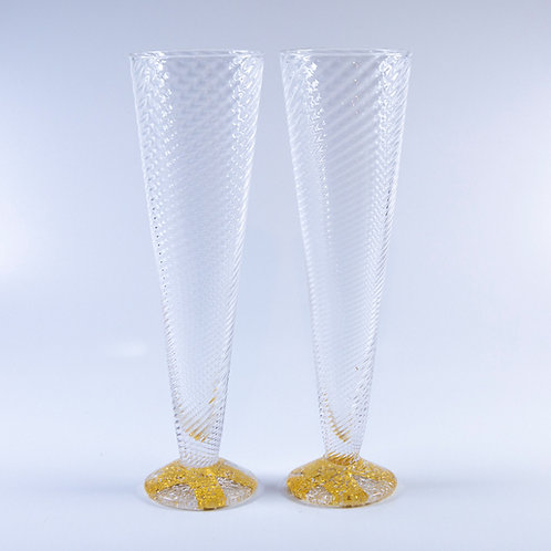 Set of Two Glass Champagne Flutes by Tom Stoenner