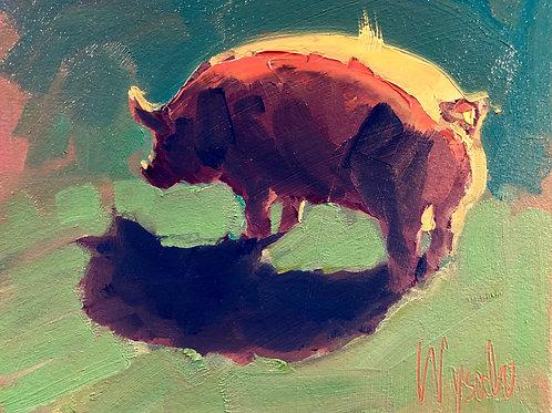 "'Bright Light Pig' Framed 8"" x 10"" Oil on Canvas by Stephen Wysocki"