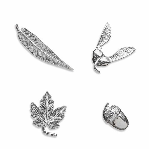 Pewter 4-Piece Nature Magnet Set by Dan Forth