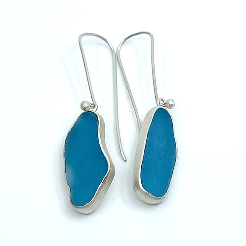 Teal Blue Beach Glass Wire Earrings by Sonja Grondstra