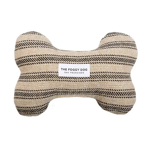 Ticking Stripe Dog Bone Squeaky Toy by Foggy Dog