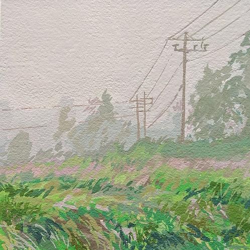 """'Morning Mist' Framed 6"""" x 6"""" Gouache by Justin Shull"""
