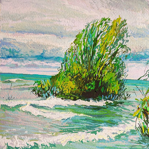 """'High Water' Framed 6"""" x 6"""" Gouache by Justin Shull"""