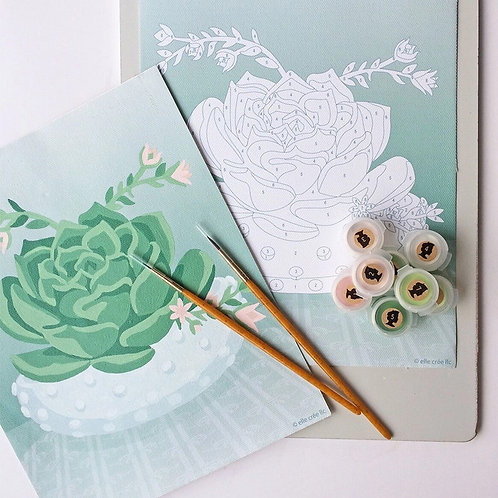 Blooming Succulent in Hobnail Bowl Paint-By-Numbers Kit by Elle Crée