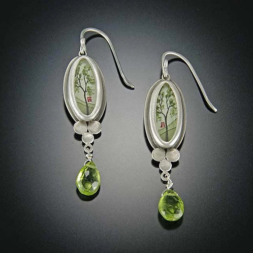 Spring Maple Earrings with Peridot Drop by Ananda Khalsa