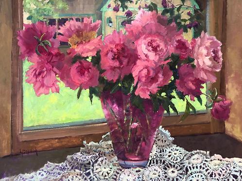 'Granny's Vase -- Pink Peonies' by Lori Feldpausch