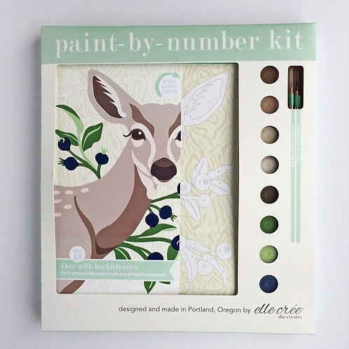 Deer with Huckleberries Paing-By-Numbers Kit