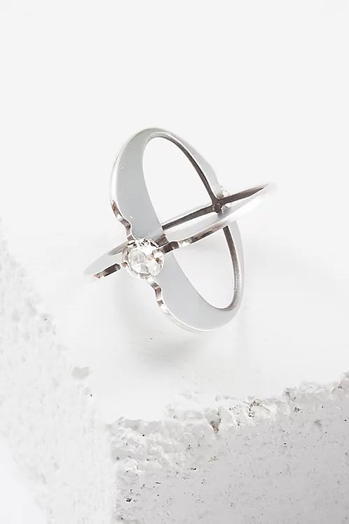 White Topaz and Sterling Silver Atom Ring by Zuzko - Size 7