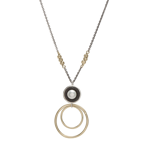 Pearl Cup with Goldfill Rings Necklace s by J & I - GPH8N