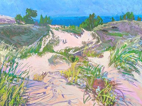 "'Dune Climb' Framed 15"" x 20"" Gouache by Justin Shull"