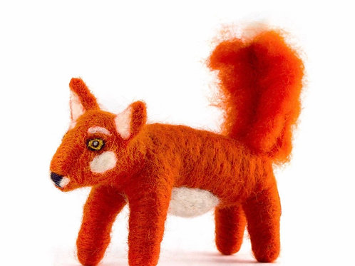 Red Fox Hand Felted Wool Animal Ornament by Mayan Hands