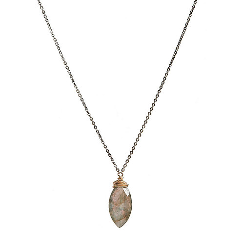 Faceted Labradorite Marquies Wrapped Necklace by J & I