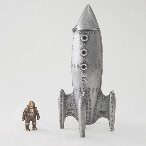 Moon Rocket Coin Bank and Spaceman by Scott Nelles