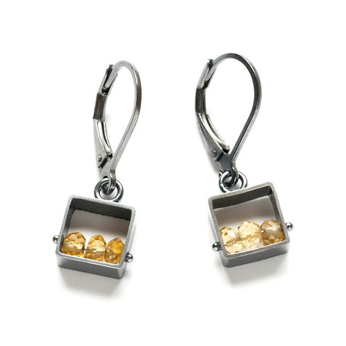 Mini Square Leverback Earrings with Citrine by Ashka Dymel