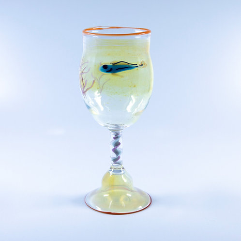 Blown Glass Fish Wine Goblet by OT Glass