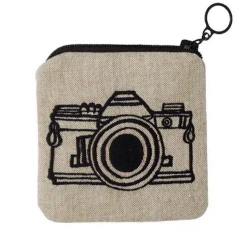 Embroidered Camera Zippee Coin Pouch by Ore Originals