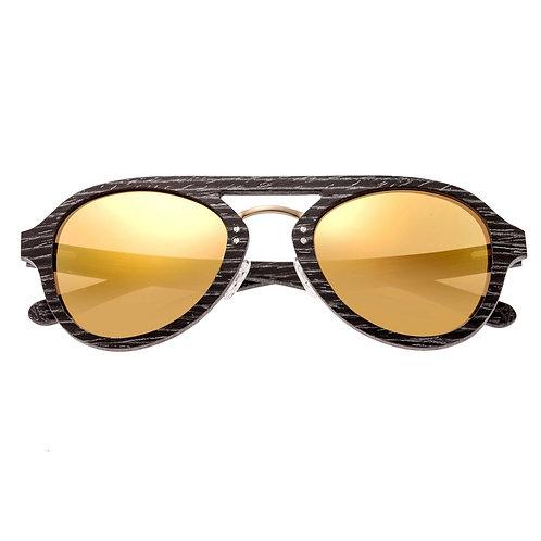 Cruz Black Stripe Wood Aviator Sunglasses by Earth Wood