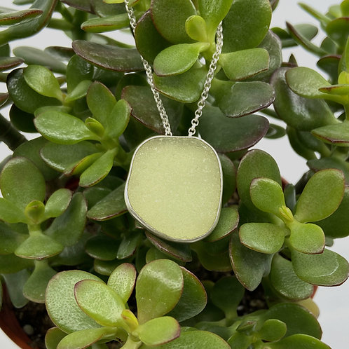 Light Lime Green Beach Glass Necklace by Sonja Grondstra