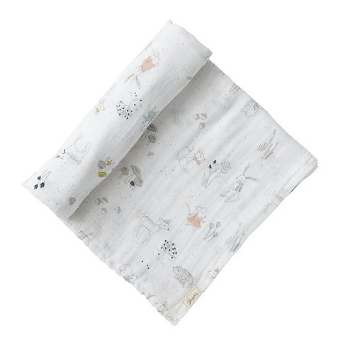 Magical Forest Organic Muslin Cotton Swaddle by Pehr - Minnows