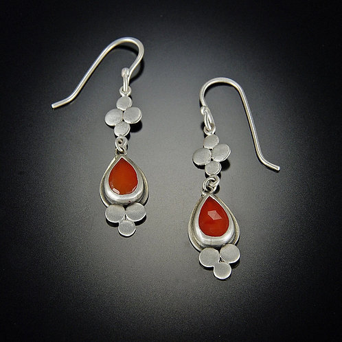 Rose Cut Carnelian and Hammered Disk Earrings by Ananda Khalsa