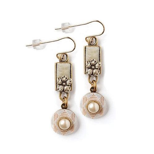 Velvet Flower with Vintage Button Earrings by Elements Jill Schwartz