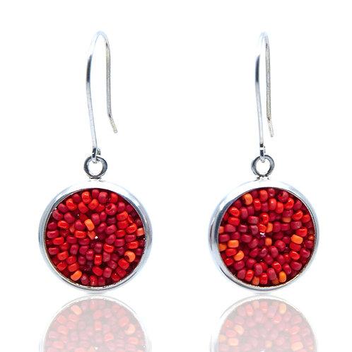 Red Rhombus Earrings by Claudia Fajardo