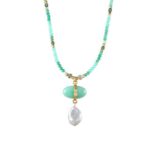 Alpine Meadow -Amazonite, Pearl, Blue Quartz Necklace by Alicia Van Fleteren