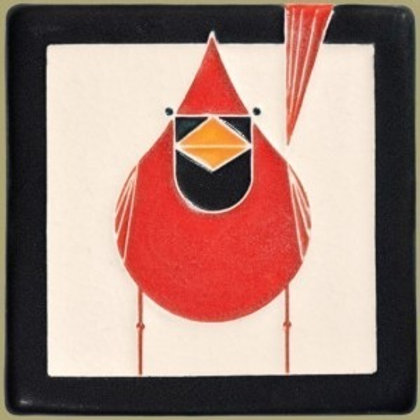 4x4 Male Cardinal by Charley Harper for Motawi Tileworks