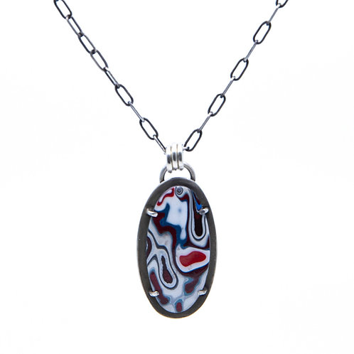Fordite Pendant on Chain by Lulu Bug