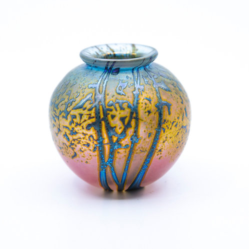 Tiny Multi-colored Blown Glass Vase with Iridescent Spray Pattern