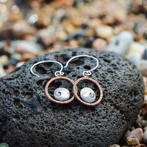 Mini Cresting Wave Hoop Earrings by Beth Millner
