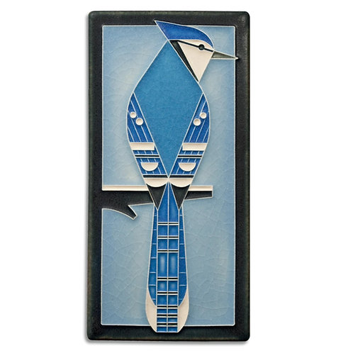 4x8 Blue Jay Tile by Charley Harper for Motawi Tileworks