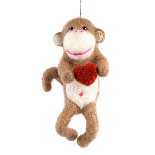 Hand Felted Wool Monkey with Heart by Mayan Hands