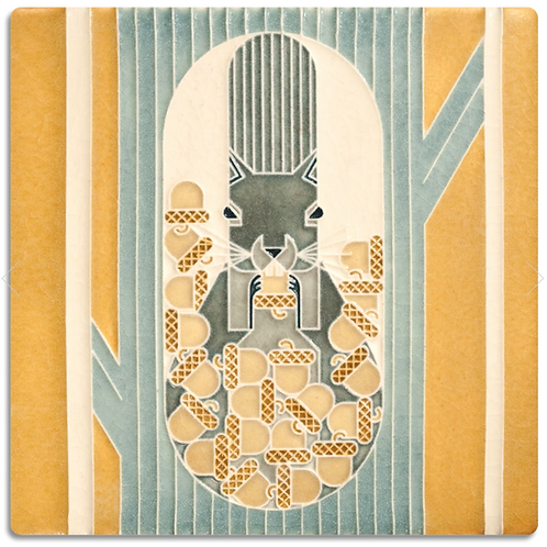 6x6 October Tile by Charley Harper for Motawi Tileworks