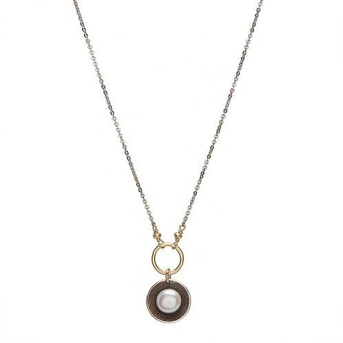 White Pearl Cup Necklace by J & I -  GPH5N