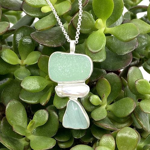 Aqua Green Blue Triple Totem Beach Glass Necklace by Sonja Grondstra
