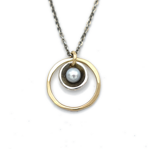 Grey Pearl Circle Necklace by J & I -  FGP7N