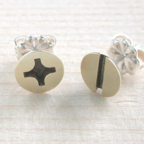 Large Brass Screw Post Earrings by Connie Verrusio