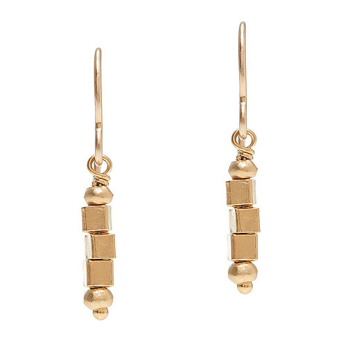 14kt Vermeil Square Bead Earrings by J & I