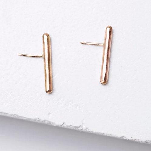 Gold Bar Stud Earrings by Zuzko